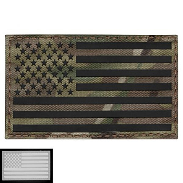 Tactical Freaky Airsoft Morale Patch 1 Big 3x5 Multicam Infrared IR USA American Flag IFF Tactical Morale Touch Fastener Patch