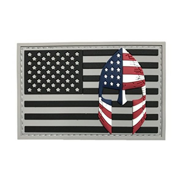 Armorbilt Airsoft Morale Patch 1 USA Flag with Spartan Helmet (Molon Labe) 3D PVC Rubber Morale Patch, Represent American Pride, Perfect for Tactical Operator Caps, Hats, Jackets, Bags, Packs and Military Apparel