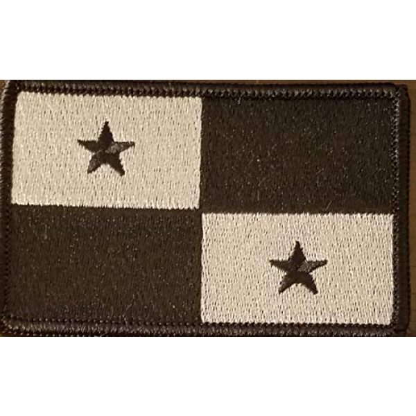 Fast Service Designs Airsoft Morale Patch 1 Panama Flag Embroidered Patch Fastener Backing Hook & Loop Morale Tactical Shoulder Emblem Black & Gray Colors Black Border #1