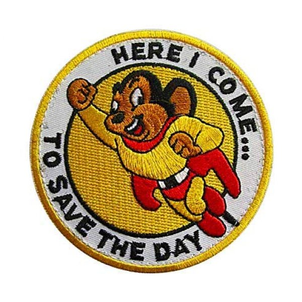 """Embroidery Patch Airsoft Morale Patch 3 Mighty Mouse""""Here I Come to Save The Day"""" Military Hook Loop Tactics Morale Embroidered Patch"""