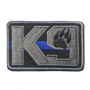Zhikang68 Airsoft Morale Patch 1 K9 & Crossbone Killer Attack Police Dog Fastener Patch Embroidered Army Swat Morale Hook Loop Backing Tactial Badge Swat for Service Animal Vest (K9 Blue line)