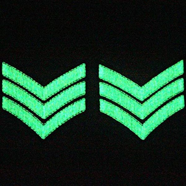 EmbTao Airsoft Morale Patch 3 Glow in Dark Millitary Uniform Chevrons Sergeant Stripes US Army Embroidered Arms Emblem Iron On Sew On Shoulder Patch, Pack of 2