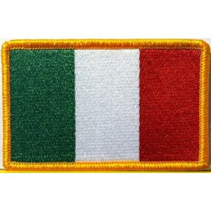 Fast Service Designs Airsoft Morale Patch 1 Italy Flag Embroidered Patch with Hook & Loop Travel Morale Patriotic MC Biker Shoulder Gold Border Italian Emblem #7