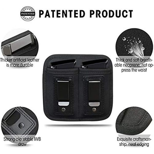 ACEXIER Tactical Pouch 3 ACEXIER Universal Double Magazine Pouch for 9mm .40 .45 .380 .357, IWB Mag Holster Concealed Cary for Double Stack, Mag Holder for Glock 19 43 17 1911 S&W M&P, IWB Clip Magazine Pouch IWB Pistol Ammo