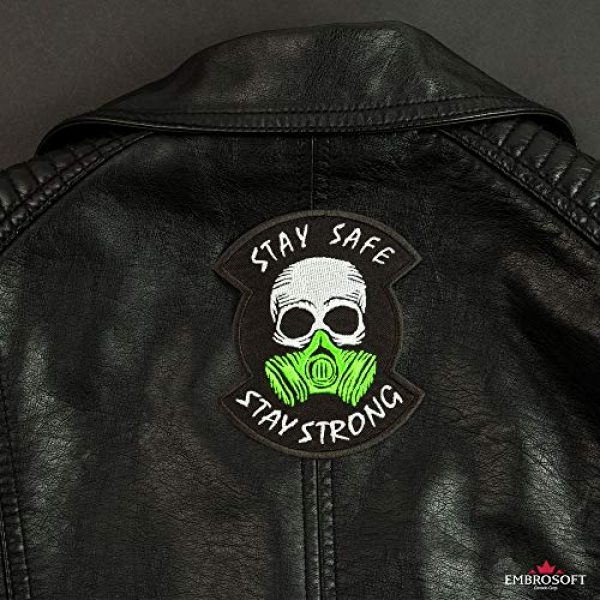 """Embrosoft Airsoft Morale Patch 7 Skull in a Gas mask Patch, Embroidered""""Stay Safe, Stay Strong"""" Morale Emblem, Size: 4.1 x 3.4 inches"""