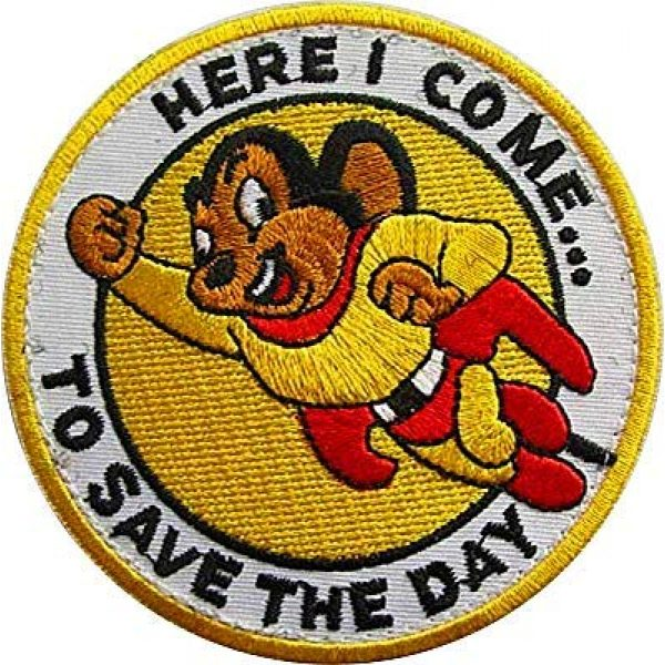 """Embroidery Patch Airsoft Morale Patch 1 Mighty Mouse""""Here I Come to Save The Day"""" Military Hook Loop Tactics Morale Embroidered Patch"""