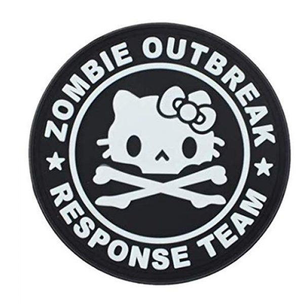 Tactical PVC Patch Airsoft Morale Patch 3 Hello Kitty Zombie Outbreak Response Team PVC Military Tactical Morale Patch Badges Emblem Applique Hook Patches for Clothes Backpack Accessories