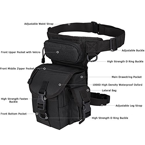 MAXTRA Tactical Pouch 3 MAXTRA Military Tactical Drop Leg Bag Tool Fanny Thigh Pack Leg Rig Utility Pouch Paintball Airsoft Motorcycle Riding Thermite Versipack, Black