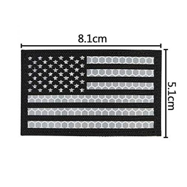 IronSeals Airsoft Morale Patch 3 IronSeals 2 Pack Reflective USA Flag Patch, Morale American Flag Patches with Hook-Fastener Backing