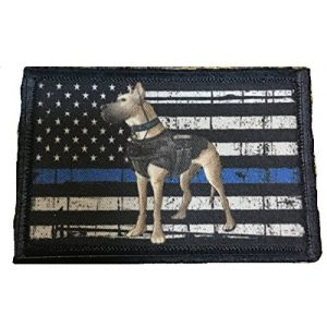 RedheadedTshirts Airsoft Morale Patch 1 K9 Thin Blue Line Police K9 Morale Tactical Patch. Made in the USA police swat dogs of war ISAF OEF OIF. 2x3 hook Patch.