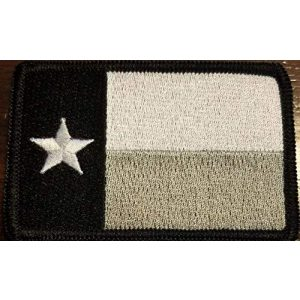 Fast Service Designs Airsoft Morale Patch 1 Texas State Flag Patch with Hook & Loop Tactical Morale Emblem Black, Gray & White Colors Black Border