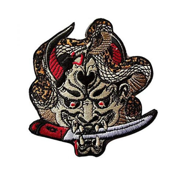 Team Airsoft Morale Patch 1 Hannya Oni Mask Patch Japanese Samurai Patches Embroidered Applique Badge Iron On Sew On Emblem 3.5 in