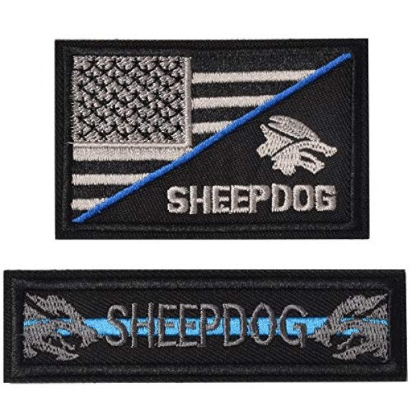 J.CARP Airsoft Morale Patch 1 Sheepdog Thin Blue line, Tactical USA Flag Patch