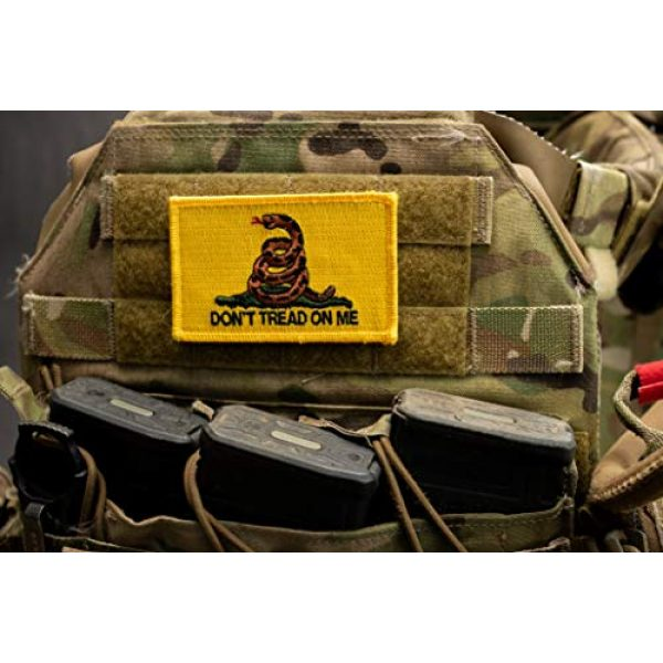 BASTION Airsoft Morale Patch 5 BASTION Morale Patches (Don't Tread On Me, Yellow/Red) | 3D Embroidered Patches with Hook & Loop Fastener Backing | Clean Stitching | Military Patches for Tactical Bag, Hats & Vest