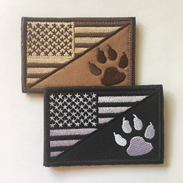 Xunqian Airsoft Morale Patch 3 USA American Flag w/Dog Tracker Paw Embroidered Applique Hook & Loop Patch (D-Bundle 2pcs Brown,Black)