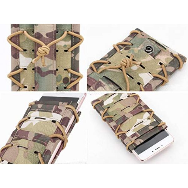 """Aoutacc Tactical Pouch 2 Aoutacc Tactical Phone Holder Holster, Molle Phone Pouch Multitool Sheath with Pocket for 4.7"""" 5.5"""" Phone"""