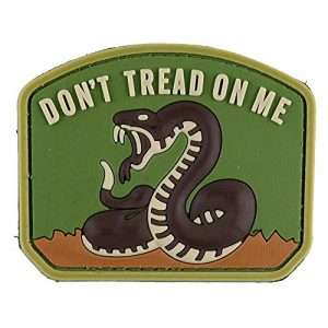 LIVABIT Airsoft Morale Patch 1 LIVABIT PVC Rubber 3D Morale Patch MP-19 Tactical Airsoft Paintball Don't Tread On Me Snake OD Green