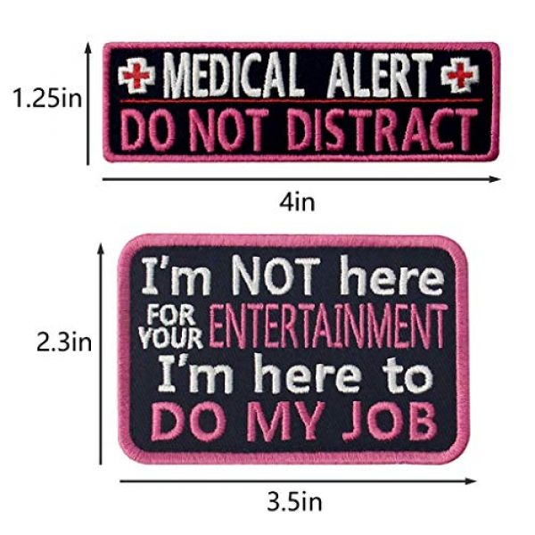 TailWag Planet Airsoft Morale Patch 3 Service Dog Medical Not All Disabilities are Visible Alert Vest/Harnesses Tactical Morale Patch Embroidered Badge Fastener Hook & Loop Emblem, 6 Pcs, Pink