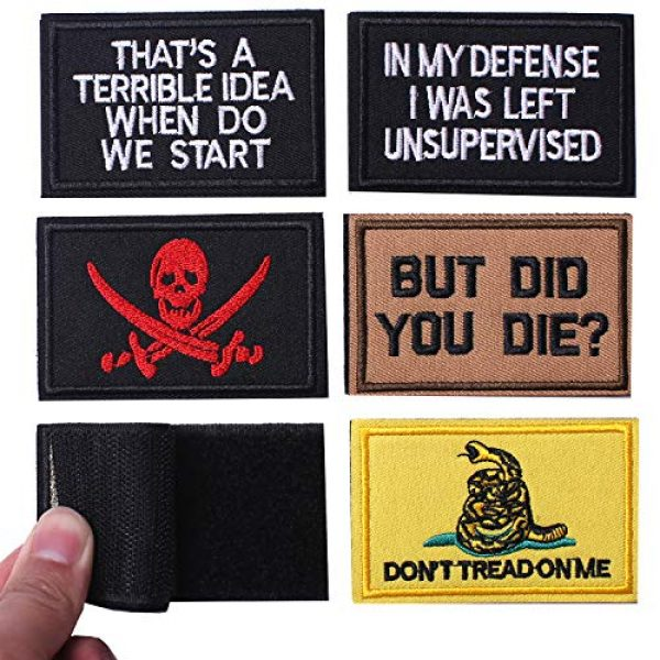 J.CARP Airsoft Morale Patch 3 6 Pieces Velcro Tactical Morale Embroidery Patches, Military Funny Full Embroidered Appliques for Tactical Gear