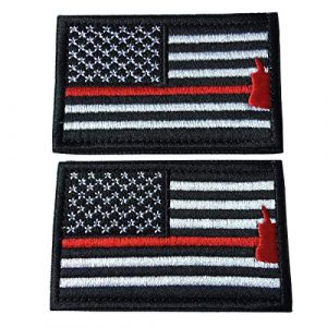 Hng Kiang Hu Airsoft Morale Patch 1 Bundle 2 Pieces American Flag Patch Thin Red Line US Firefighter Emergency Rescue