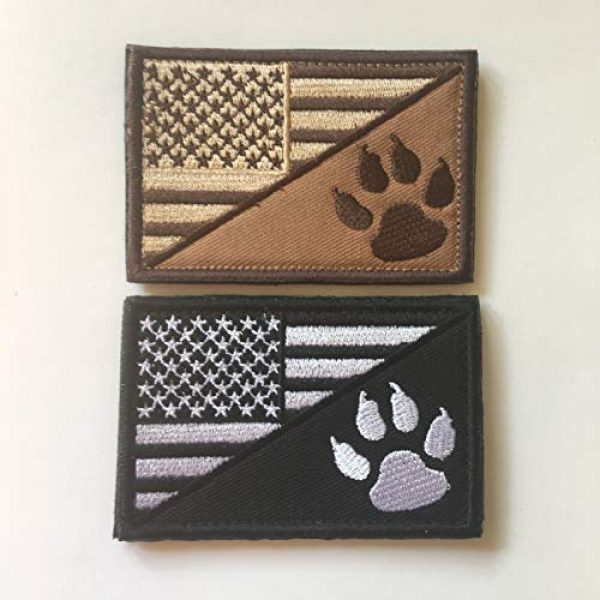 Xunqian Airsoft Morale Patch 2 USA American Flag w/Dog Tracker Paw Embroidered Applique Hook & Loop Patch (D-Bundle 2pcs Brown,Black)