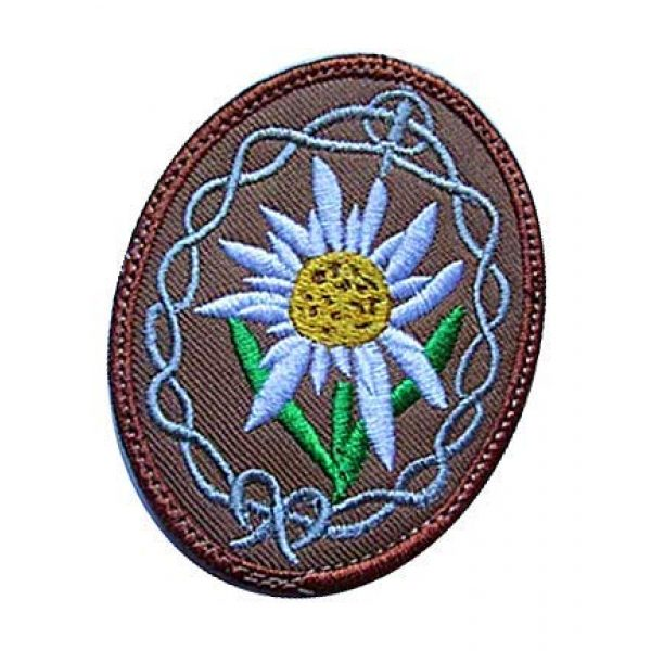 Embroidery Patch Airsoft Morale Patch 3 WWII German Mountain Troops Elite Edelweiss Military Hook Loop Tactics Morale Embroidered Patch