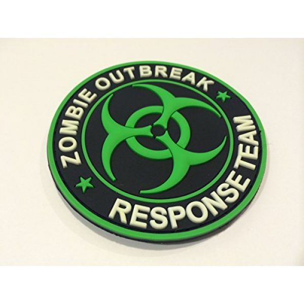 Britkit Airsoft Morale Patch 2 Green PVC Glow in the Dark Zombie Hunting Apocalypse Response Team Permit Tactical Morale Patch(hook/loop) Backed