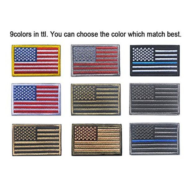 TopAAA Airsoft Morale Patch 3 Tactical Morale Tags Patch USA Flag Embroidered American Flag Patch Hook&Loop Fastener Backing Emblem, Red & Grey