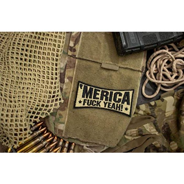 BASTION Airsoft Morale Patch 2 BASTION Morale Patches ('Merica, Tan)   3D Embroidered Patches with Hook & Loop Fastener Backing   Well-Made Clean Stitching   Military Patches Ideal for Tactical Bag, Hats & Vest