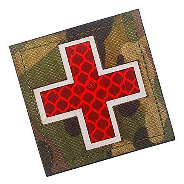 Embroidery Patch Airsoft Morale Patch 2 Cross Medical Rescue Reflective Patch Military Hook Loop Tactics Morale Patch