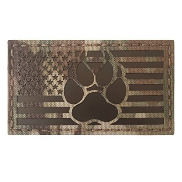 Tactical Freaky Airsoft Morale Patch 3 IR Multicam Infrared USA Flag K9 Dog Handler Paw K-9 Tactical Morale Fastener Patch