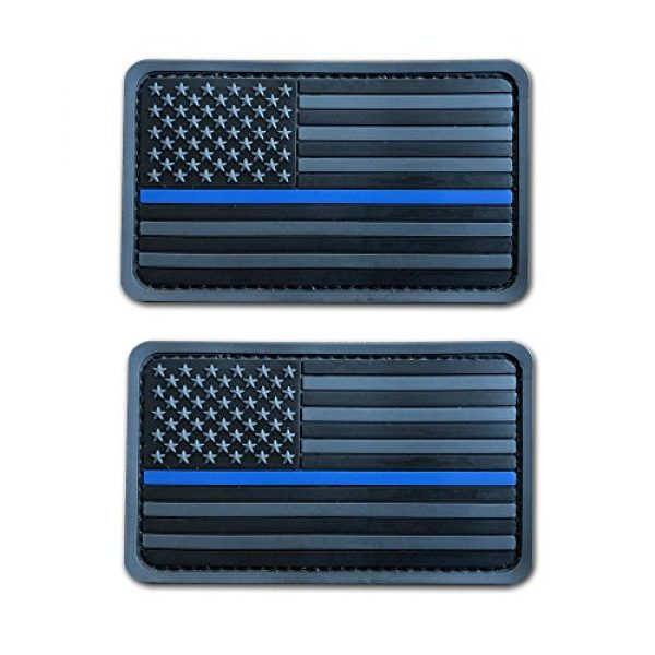 Baotu Airsoft Morale Patch 1 2 Pack 2x3.5 3D PVC Rubber Thin Blue Line US USA American Flag Patch Police Patch Hook-Fastener Backing (Gray)