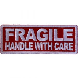 Ivamis Trading Airsoft Morale Patch 1 Fragile Handle with Care Patch - 4x1.5 inch - Embroidered Iron on Patch