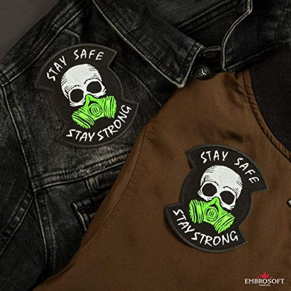"""Embrosoft Airsoft Morale Patch 5 Skull in a Gas mask Patch, Embroidered""""Stay Safe, Stay Strong"""" Morale Emblem, Size: 4.1 x 3.4 inches"""