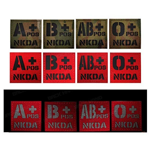 APBVIHL Airsoft Morale Patch 7 Infrared IR Reflective O POS O+ NKD O Positive Blood Type Patch, Tactical Morale Medical Patches with Hook and Loop Fastener Backing 1.97 x 1.97 Inch - 2 Pieces - No Known Drug Allergies