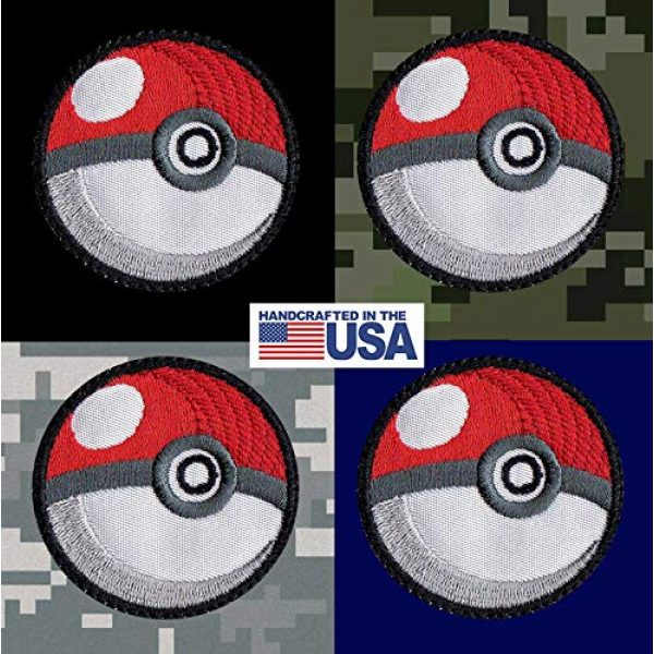 Tactical Patch Works Airsoft Morale Patch 3 Pokeman Poke Ball Ash Pikachu Inspired Art White Patch