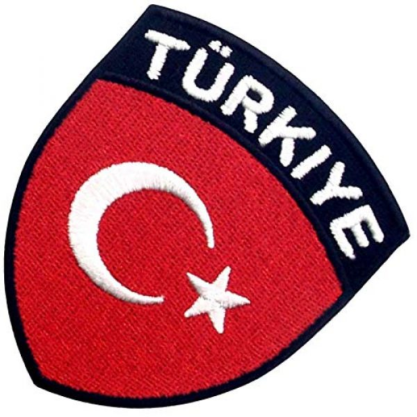 EmbTao Airsoft Morale Patch 4 EmbTao Turkey Flag Shield Patch Embroidered National Morale Applique Iron On Sew On Turk Emblem
