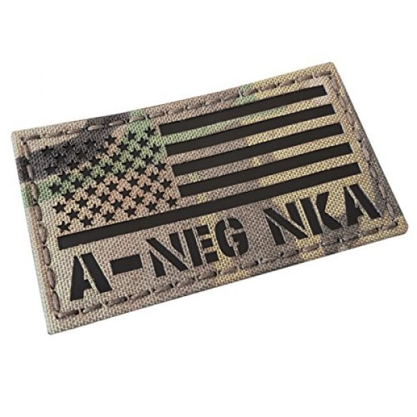 Tactical Freaky Airsoft Morale Patch 1 IR Multicam USA Flag ANEG A- Blood Type NKA NKDA Infrared Tactical Morale Fastener Patch