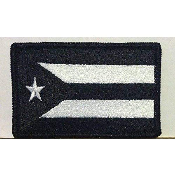 Fast Service Designs Airsoft Morale Patch 1 Puerto RICO Flag Embroidered with Hook & Loop Patch MC Biker Morale Tactical Shoulder Black & White Emblem Black Border #31
