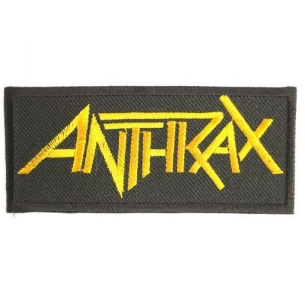"""Vertebraid Airsoft Morale Patch 3 ANTHRAX Gold Logo Metal Band Iron On Sew On Embroidered Patch 3.9""""/10cm x 1.7""""/4.5cm By MNC Shop"""