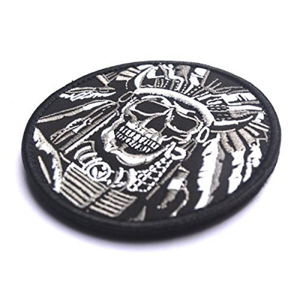 WZT Airsoft Morale Patch 2 WZT Death Skull War Chief Indian Usa Army Morale Military Tactical Swat Patch