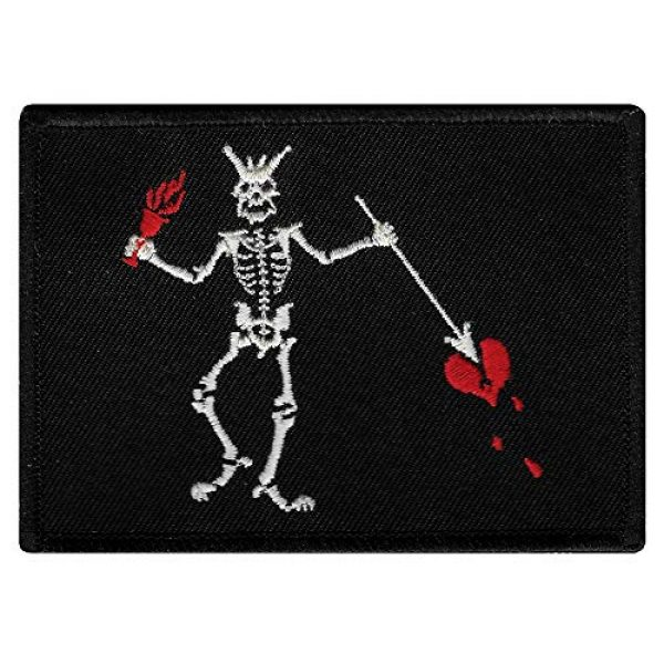 Cypress Collectibles Embroidered Patches Airsoft Morale Patch 1 Jolly Roger Blackbeard Flag Embroidered Patch Black White Pirate Skull Iron-On