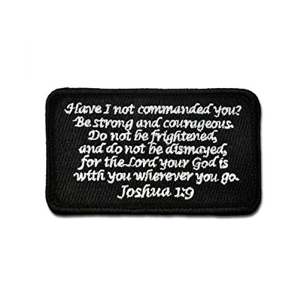 BASTION Airsoft Morale Patch 1 BASTION Morale Patches (Joshua 1:9, Black) | 3D Embroidered Patches with Hook & Loop Fastener Backing | Well-Made Clean Stitching, Christian Patches Ideal for Tactical Bag, Hats & Vest