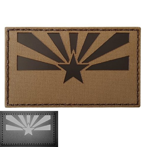 Tactical Freaky Airsoft Morale Patch 1 Big 3x5 Coyote Brown Tan Infrared IR Arizona Flag IFF Tactical Morale Hook-and-Loop Patch