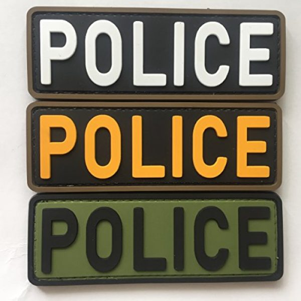 """uuKen Airsoft Morale Patch 1 Police Tactical Patches 4""""x1.4"""" Bundle with Hook Backing for Vest and Backpacks by uuKen Tactical Gear Patches (Bundle with Three Colors)"""