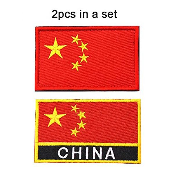 TopAAA Airsoft Morale Patch 2 TopAAA China CN Flag Military Embroidered Tactical Patch Morale Shoulder Applique 2packs