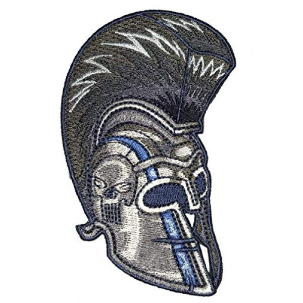 F-Bomb F Morale Gear Airsoft Morale Patch 1 Thin Blue Line Spartan Helmet - Embroidered Morale Patch with Hook Backing