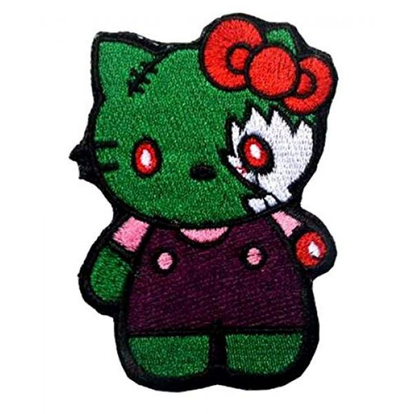 Embroidered Patch Airsoft Morale Patch 1 Green Zombie Hello Kitty 3D Tactical Patch Military Embroidered Morale Tags Badge Embroidered Patch DIY Applique Shoulder Patch Embroidery Gift Patch