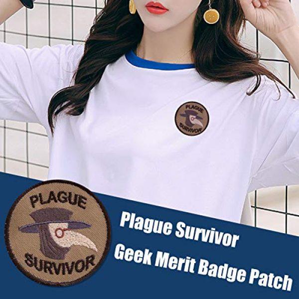 Esissenils Airsoft Morale Patch 4 Plague Survivor Geek Merit Badge Patch, 3PCS Patch Survivor Tactical Morale Embroidery Badge Hook and Loop Fastern Patches