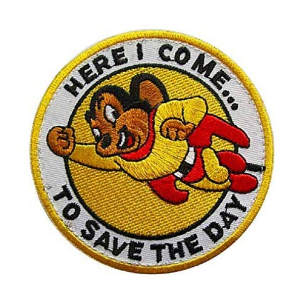 """Embroidery Patch Airsoft Morale Patch 2 Mighty Mouse""""Here I Come to Save The Day"""" Military Hook Loop Tactics Morale Embroidered Patch"""